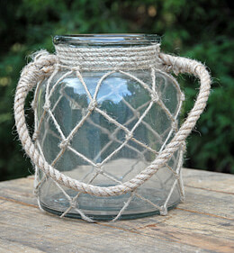 Rope Net Candle Holder Jar 8in