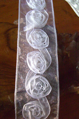 "Sheer Rolled White Rose Ribbon 2"" Width x 11yds"