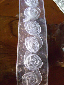 Rose Applique Sheer White Ribbon 11 yards