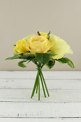 Rose Bouquet Yellow 9.5in