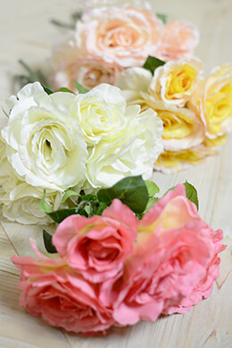8 Silk Flower Rose Bouquets Assorted