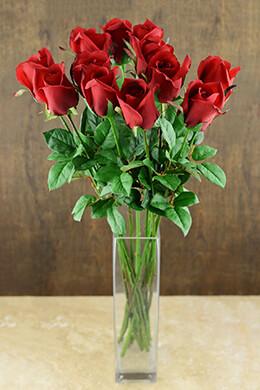 12 Long Stem Silk Ecuador Red Rose Buds