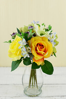 Rose and Daisy Bouquet Yellow 12in