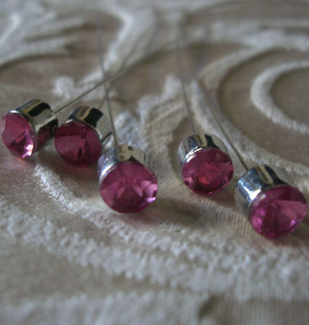 Rose Pink Crystal 3 in. Corsage Pins (5 pins/pkg )