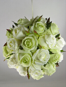 "Rose Pomander 9"" Cream & Light Green Silk Rose Balls"