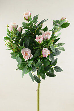 Pink Silk Rose Topiary Spray 21in