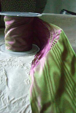 "Rose & Green Satin Deco Moire Ribbon 3"" width 27 feet"