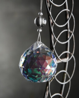 Round Cut Glass Crystal Ball Hanger 4in