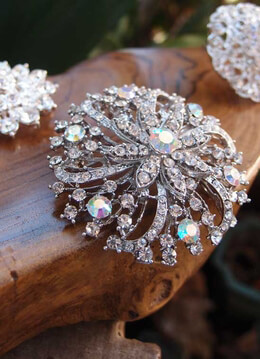 Round Crystal Brooch 2.5in