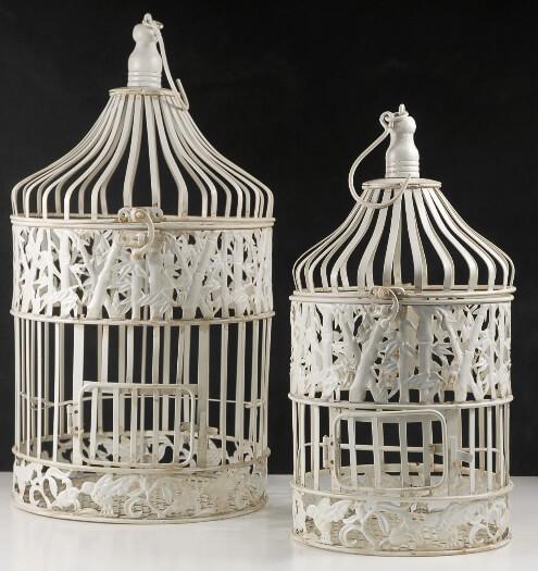 Round Wedding Birdcages Set of 2 Cream White