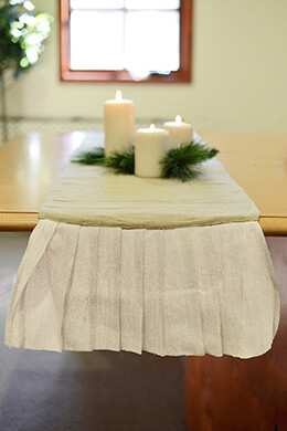 Ruffled Table Runner Ivory 14x114in