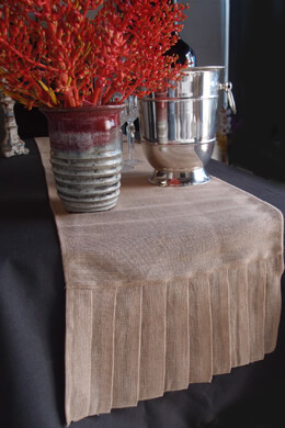 Burlap Pleated Ruffle Table Runner  14in x 114in