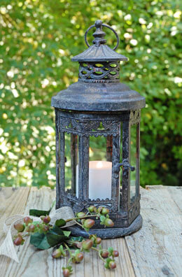 Rusted Metal Lantern 13in