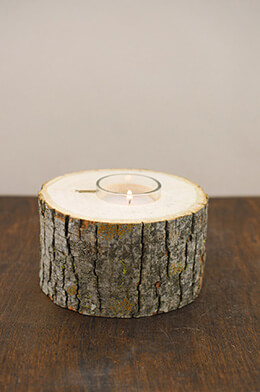 "Natural 5"" Wide Tree Branch Votive Holder with Candle"