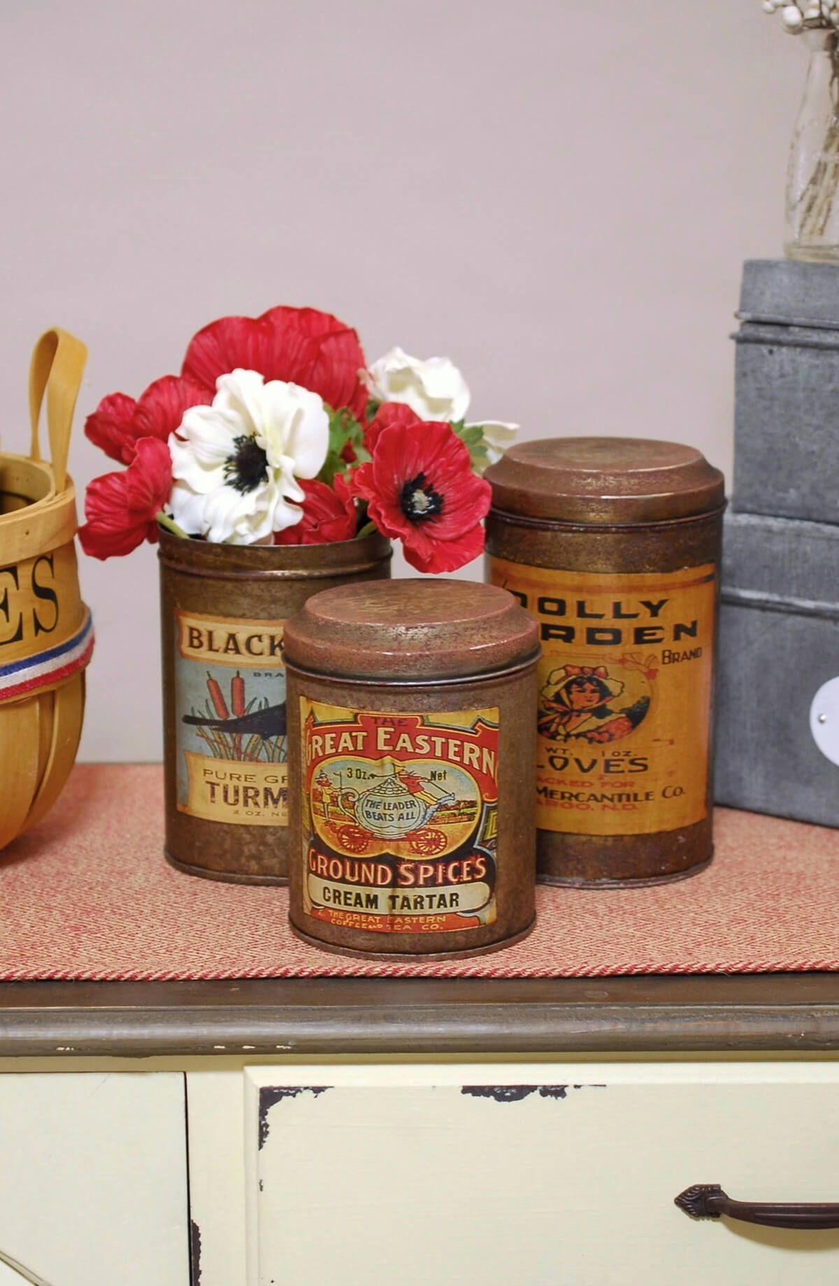 Vintage Spice Canisters (Set of 3)