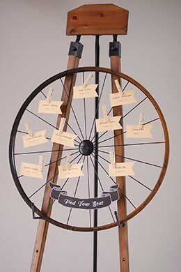 Rustic Wheel Card Holder with Clothespins