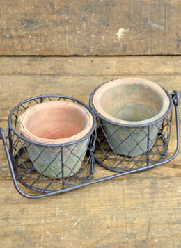 Rustic Clay Pots in Wire Basket