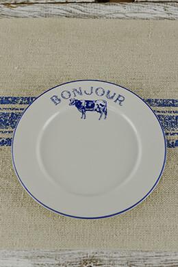 4 Blue Bonjour Salad Plates