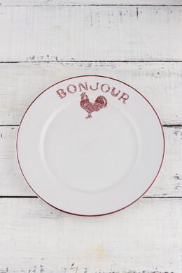 """4 Red Bonjour Salad Plates 7.5"""""""