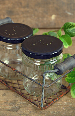Salt & Pepper Jars with  Metal Chicken Wire Basket