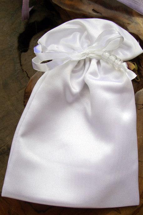 White Satin Wedding Favor Bags (6 bags) Pouches