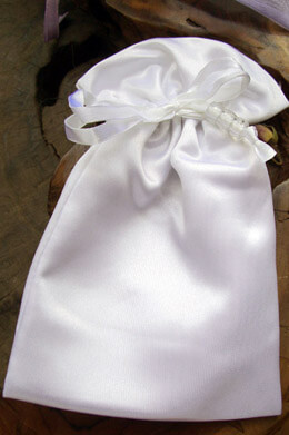 White Satin Wedding Favor Bags (6 bags) Pouches