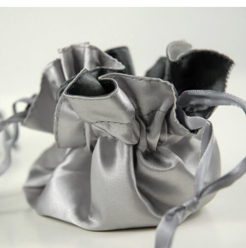 Tiny Silver and Grey Satin Favor Bags  (Pack of 12)