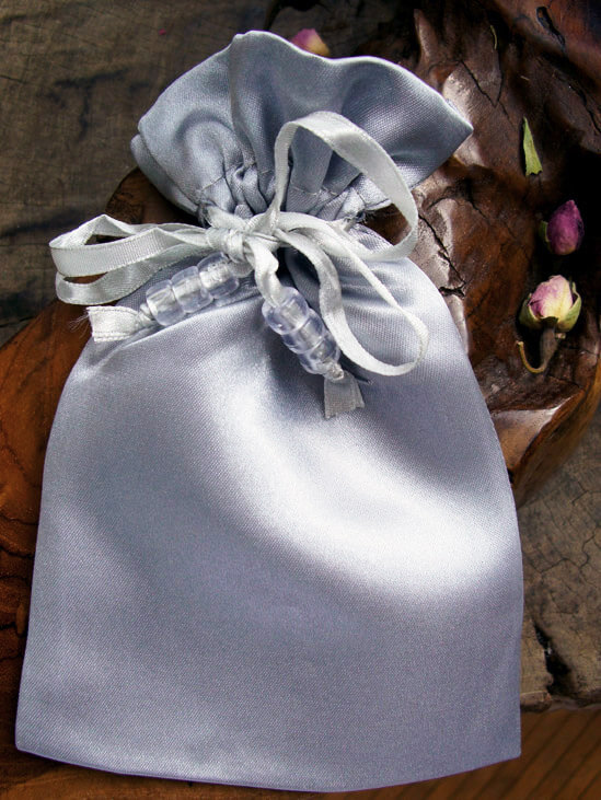 Silver Satin Wedding Favor Bags (6 Bags)  Pouches