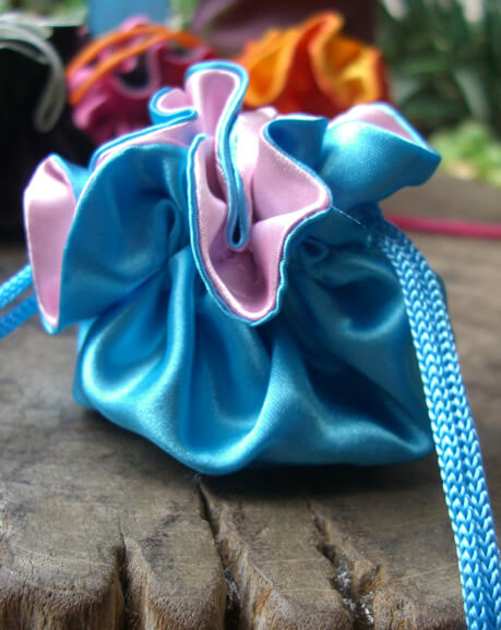 "Satin Favor Bags Turquoise 2.5"" Blue & Pink"