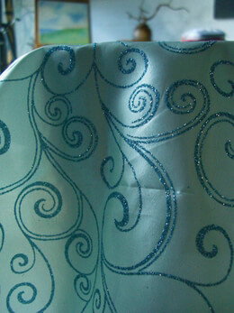 Satin Table Runner Blue Glitter