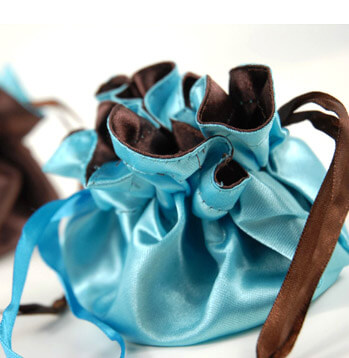 "Satin Pouches Reversible 4"" Turquoise Blue & Brown"