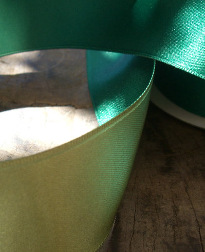 "Satin Ribbon 1-1/2"" width Double Face Two Color Olive Green & Hunter Green Wire Edge 10 yards"