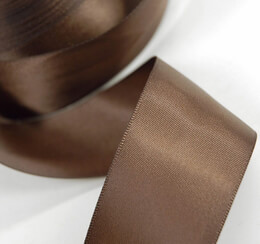 "Satin Ribbon Double Face Brown 1-1/2"" width 25 yards"