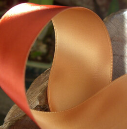 "Satin Ribbon Double Face Two Color Orange & Gold 1-1/2"" Width 10 yards"