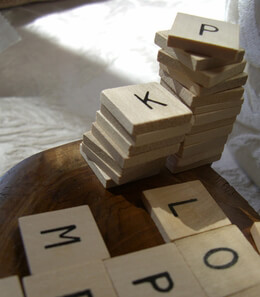 "Wood Scrabble Alphabet Tiles 3/4"" (60 pieces)"