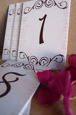 Handmade Table Numbers 1 thru 15