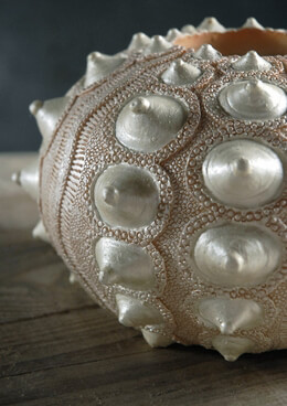 "Sea Urchin Shell 7-3/4"" Resin Vase"