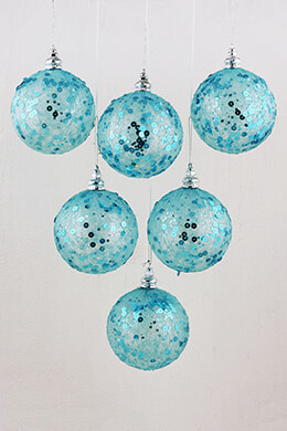 Sequin Ornaments Blue 4in (Set of 6)