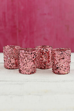 4 Pink Sequin Votive Holders