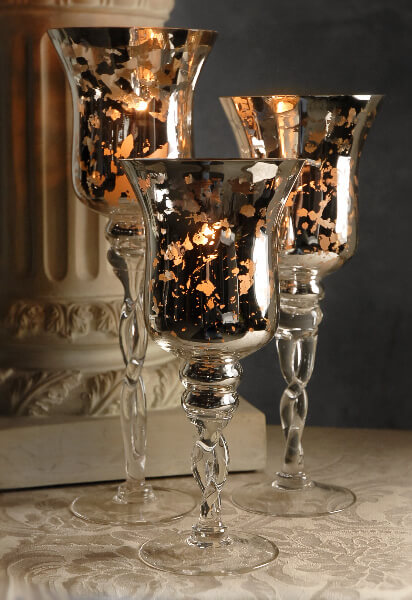 "3 Mercury Glass Pedestal Candle Holders  16"", 14"", 12"""
