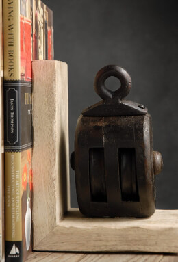 Set of Two Bookends with Boat Wood Pulleys