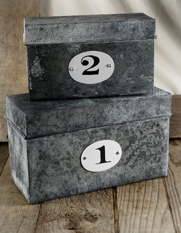 Set of Two Numbered Zinc Storage Boxes 10in & 8in