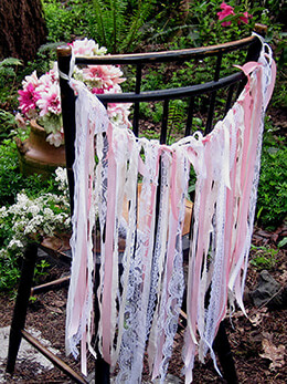 Shabby Chic Fabric Garland Pink and Cream