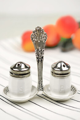 Vintage Silverware Salt & Pepper Shaker with Mini Caddy
