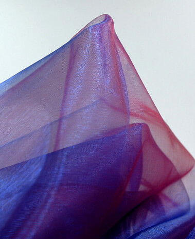 "Sheer Fabric Blue, Purple & Burgundy Organza Iridescent 28"" width 3 yards"