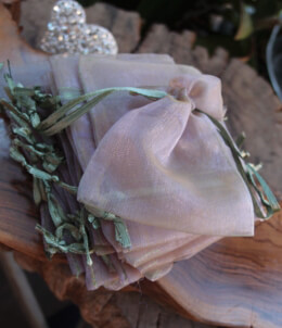 "Sheer Favor Bags Lavender with Olive Green Ribbon 3"" x 4"" (24 bags)"