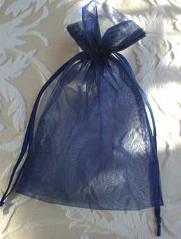 Navy Blue Organza Favor Bags 4x6in (Pack of 10)