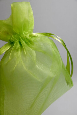 Sheer Organza Drawstring Bags Apple Green 6-1/2 (24 bags)