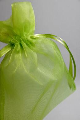 Sheer Organza Drawstring Bags Apple Green 6-1/2 (24 bags)
