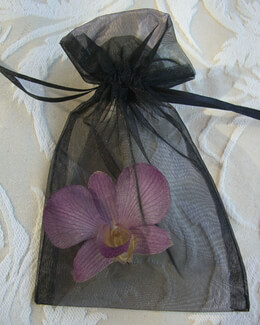 Organza 6x4 Favor Bags Black Pack of 10